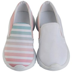 Horizontal Pinstripes In Soft Colors Kids  Lightweight Slip Ons by shawlin