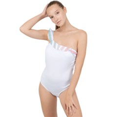 Horizontal Pinstripes In Soft Colors Frilly One Shoulder Swimsuit by shawlin