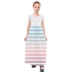 Horizontal Pinstripes In Soft Colors Kids  Short Sleeve Maxi Dress by shawlin