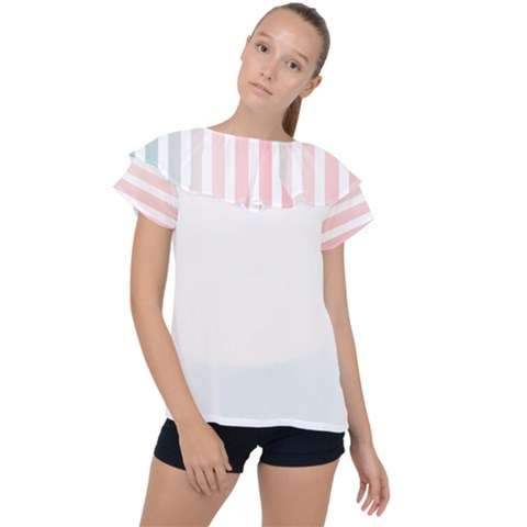 Horizontal Pinstripes In Soft Colors Ruffle Collar Chiffon Blouse by shawlin