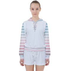 Horizontal Pinstripes In Soft Colors Women s Tie Up Sweat by shawlin