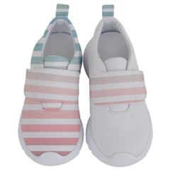 Horizontal Pinstripes In Soft Colors Kids  Velcro No Lace Shoes by shawlin