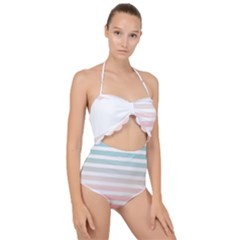 Horizontal Pinstripes In Soft Colors Scallop Top Cut Out Swimsuit by shawlin