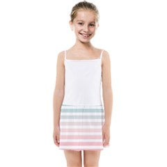 Horizontal Pinstripes In Soft Colors Kids  Summer Sun Dress