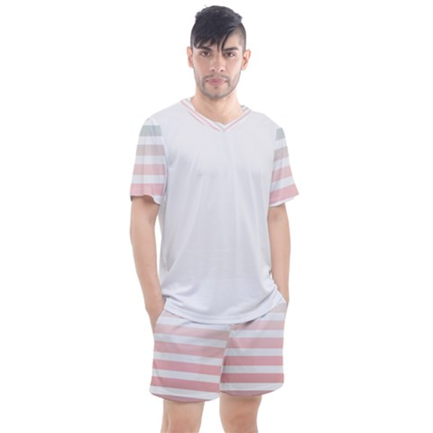 Horizontal Pinstripes In Soft Colors Men s Mesh Tee And Shorts Set by shawlin