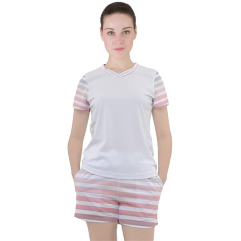Horizontal Pinstripes In Soft Colors Women s Mesh Tee And Shorts Set by shawlin