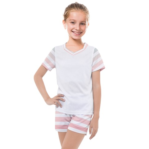 Horizontal Pinstripes In Soft Colors Kids  Mesh Tee And Shorts Set by shawlin