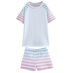 Horizontal Pinstripes In Soft Colors Kids  Swim Tee And Shorts Set by shawlin