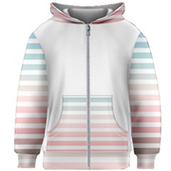 Horizontal Pinstripes In Soft Colors Kids  Zipper Hoodie Without Drawstring by shawlin