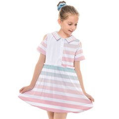 Horizontal Pinstripes In Soft Colors Kids  Short Sleeve Shirt Dress by shawlin