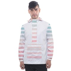Horizontal Pinstripes In Soft Colors Men s Front Pocket Pullover Windbreaker by shawlin