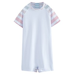 Horizontal Pinstripes In Soft Colors Kids  Boyleg Half Suit Swimwear by shawlin
