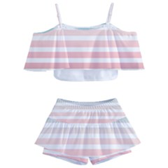 Horizontal Pinstripes In Soft Colors Kids  Off Shoulder Skirt Bikini by shawlin
