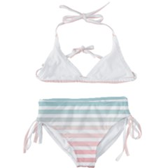 Horizontal Pinstripes In Soft Colors Kids  Classic Bikini Set by shawlin