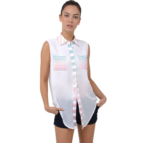 Horizontal Pinstripes In Soft Colors Sleeveless Chiffon Button Shirt by shawlin