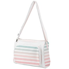 Horizontal Pinstripes In Soft Colors Front Pocket Crossbody Bag by shawlin