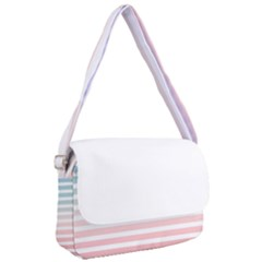 Horizontal Pinstripes In Soft Colors Courier Bag by shawlin