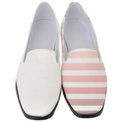 Horizontal Pinstripes In Soft Colors Women s Classic Loafer Heels by shawlin