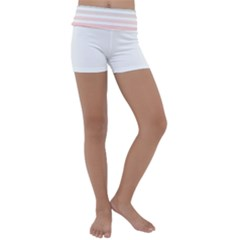 Horizontal Pinstripes In Soft Colors Kids  Lightweight Velour Yoga Shorts by shawlin