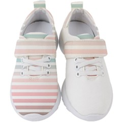 Horizontal Pinstripes In Soft Colors Kids  Velcro Strap Shoes by shawlin