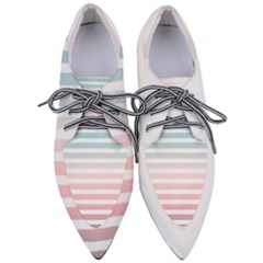 Horizontal Pinstripes In Soft Colors Women s Pointed Oxford Shoes by shawlin