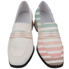Horizontal Pinstripes In Soft Colors Women s Chunky Heel Loafers by shawlin