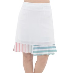 Horizontal Pinstripes In Soft Colors Fishtail Chiffon Skirt by shawlin
