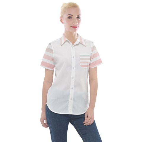 Horizontal Pinstripes In Soft Colors Women s Short Sleeve Pocket Shirt by shawlin