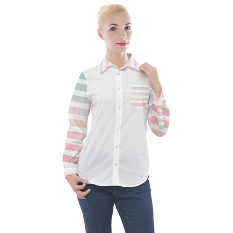 Horizontal Pinstripes In Soft Colors Women s Long Sleeve Pocket Shirt by shawlin