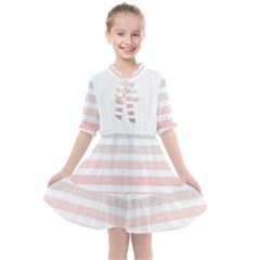 Horizontal Pinstripes In Soft Colors Kids  All Frills Chiffon Dress by shawlin