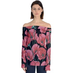 Poppy Flower Off Shoulder Long Sleeve Top by goljakoff