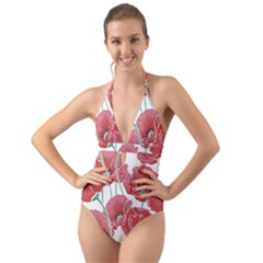 Red Poppy Flowers Pattern Halter Cut Out One Piece Swimsuit by goljakoff