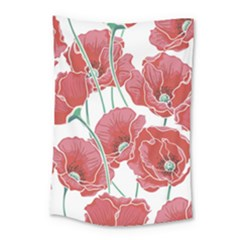 Red Poppy Flowers Pattern Small Tapestry by goljakoff