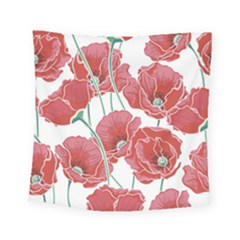 Red Poppy Flowers Pattern Square Tapestry (small) by goljakoff