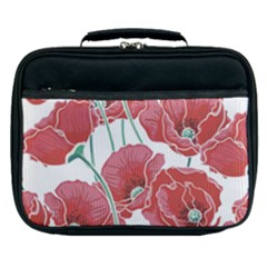 Red Poppy Flowers Pattern Lunch Bag