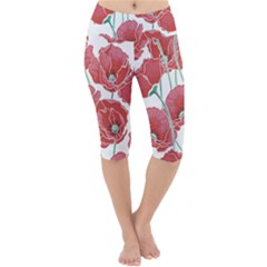Red Poppy Flowers Pattern Lightweight Velour Cropped Yoga Leggings by goljakoff
