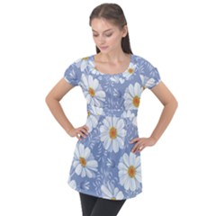 Chamomile Flowers Puff Sleeve Tunic Top by goljakoff