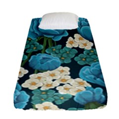 Blue Flowers Pattern Fitted Sheet (single Size) by goljakoff