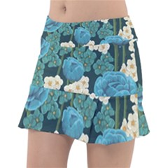 Blue Flowers Pattern Tennis Skirt