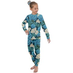Blue Flowers Pattern Kids  Long Sleeve Set  by goljakoff