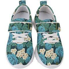 Blue Flowers Pattern Kids  Velcro Strap Shoes by goljakoff