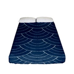 Blue Sashiko Fitted Sheet (full/ Double Size) by goljakoff