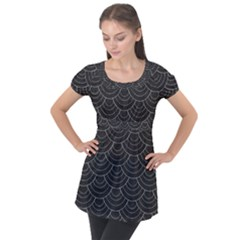 Black Sashiko Puff Sleeve Tunic Top by goljakoff