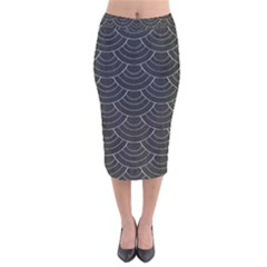 Black Sashiko Velvet Midi Pencil Skirt by goljakoff