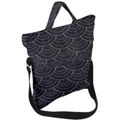 Black Sashiko Fold Over Handle Tote Bag
