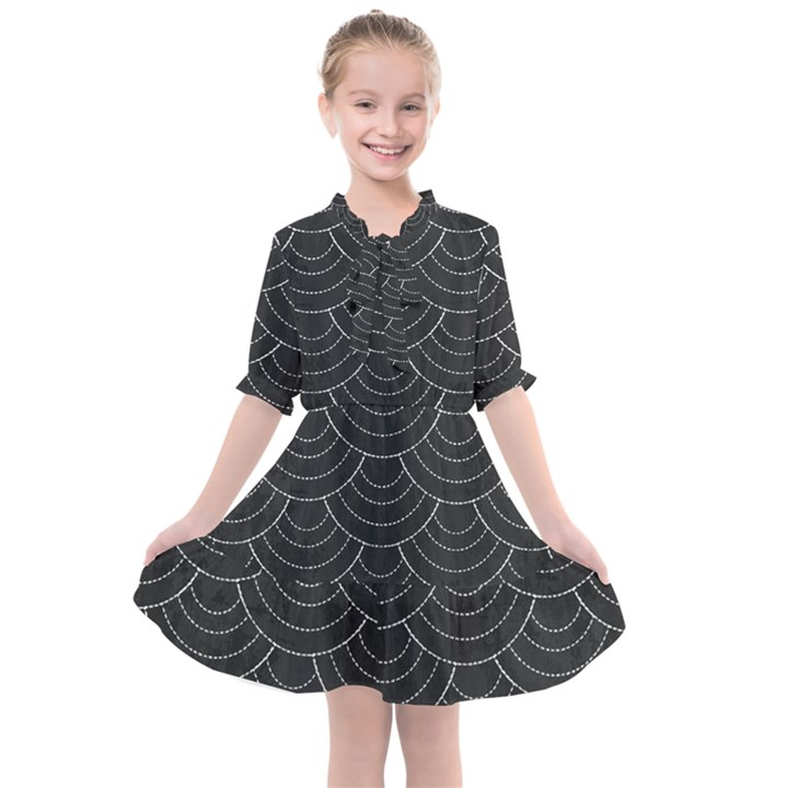 Black sashiko Kids  All Frills Chiffon Dress