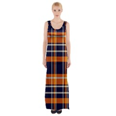 Tartan Pattern Maxi Thigh Split Dress
