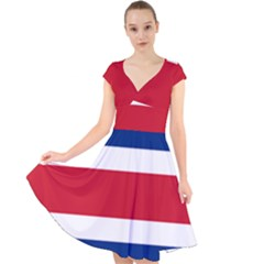 National Flag Of Costa Rica Cap Sleeve Front Wrap Midi Dress