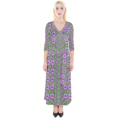 Fantasy Flowers Dancing In The Green Spring Quarter Sleeve Wrap Maxi Dress