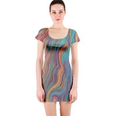 Colorful Sketch Short Sleeve Bodycon Dress by bloomingvinedesign